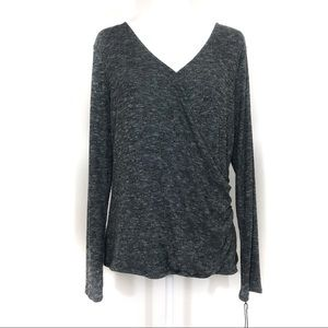 Rock & Republic side ruched surplice Gray Top